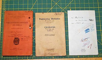1907 UNIVERSITY of MICHIGAN Engineering Mechanics Textbooks. Wier Experiments