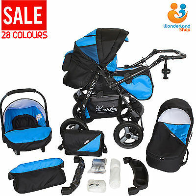 Baby Pram Stroller Pushchair Car Seat Carrycot Travel System Buggy+ 28 COLOURS