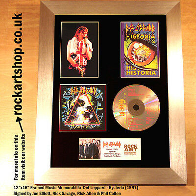 DEF LEPPARD Hysteria *SIGNED JOE ELLIOT+RICK+RICK+PHIL* Autographed Framed WORLD