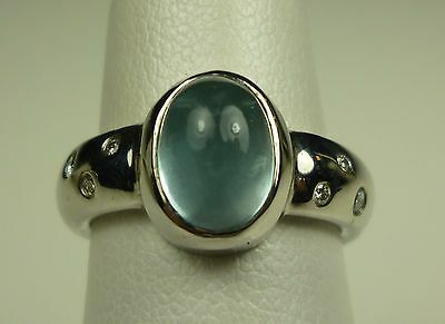 Custom designed 14K white gold aquamarine & diamond ring 060204