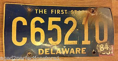 Vintage Retired Delaware License Plate C 65210 The First State