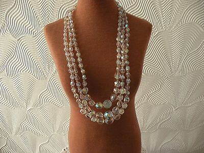 Vintage ??? Beautiful 3 Strand Crystal Necklace