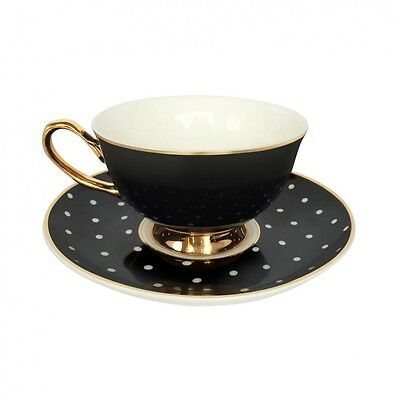 Bombay Duck NEW! Black & White Spotty Gift-Boxed Cup & Saucer