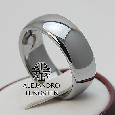 Tungsten Ring Band Wedding Anniversary 8MM Hot Polished Silver Size 13.5 #DZA