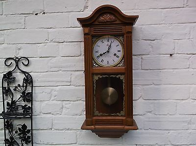 Wall Clock 31 Day Mechanical (Oak Wooden) Chime/gongs The Hour And The Half