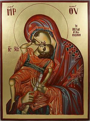 Theotokos Pelagonitissa Virgin Mary Eleusa Hand-Painted Byzantine Orthodox Icon
