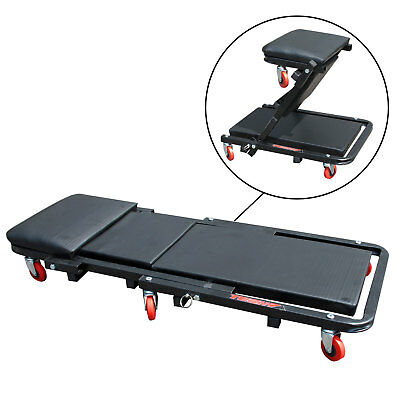 Folding Mechanics Deluxe Car Creeper Rolling Garage Seat with Head Rest