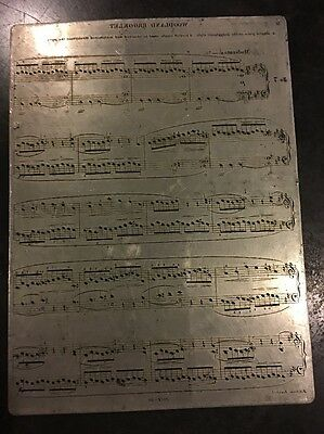 antique Vintage PRINTING PLATE Sheet Music Woodland Brooklet Decor WOW