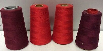 Lot Of 4 Misc Red/wine Used Industrial Cone Thread