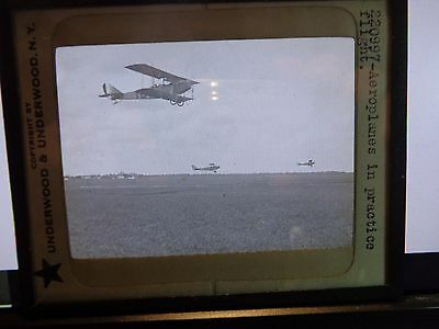 Early 1900's Underwood Ny Glass Slide~ Aeroplanes In Practice Flight ~ Rare!