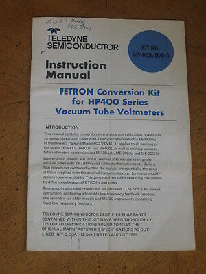 Hewlett Packard 400D Solid State Conversion Manual
