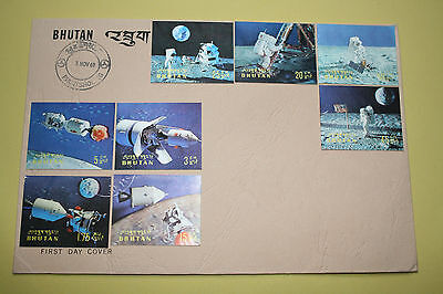 Bhutan Space Flight First day Cover Nov 1969 with 8 stamps