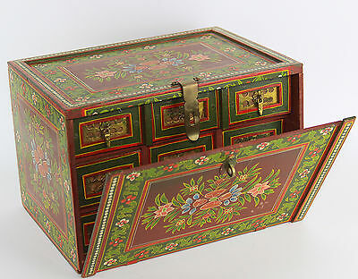 VTG Indo Portuguese Small Contadora Box Table Teak Cabinet, Red Floral Painted