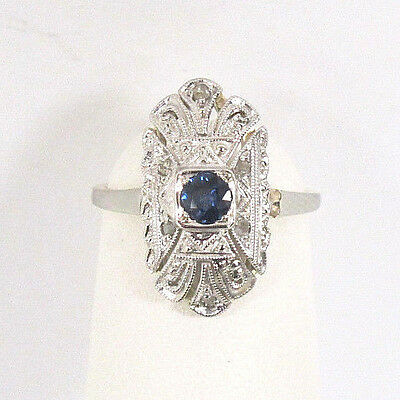 Antique 14K Yellow and White Gold .15ctw Sapphire and Diamond Baby Ring Size 2