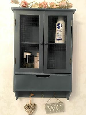 Shabby Chic Wall Cabinet Drawers Cupboard Vintage Bathroom Display Wooden Unit