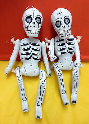 Authentic Mexican  Day Of The Dead Articulated Paper Mache Skeleton