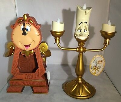 Disney Parks Beauty and the Beast Cogsworth Clock & Lumiere LED Light Up Figure