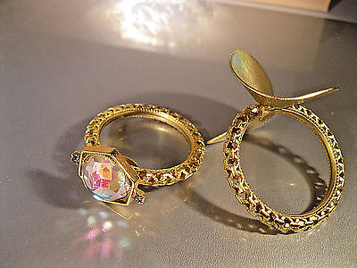 """Kirks Folly """"2 Napkin Rings"""" Wgold Finish-Fabulous-Used But Great Condition!"""