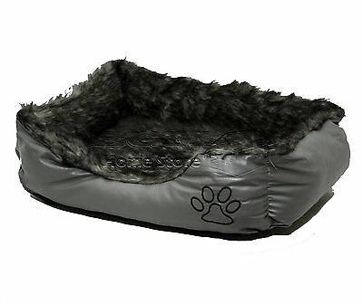 LARGE Soft Comfy REX LEATHER & FUR Washable Dog Pet Cat Warm Basket Bed GREY