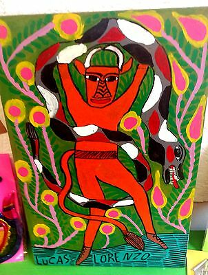 Authentic Mexican Folk Art Retablo Diablo Devil with Snake Lucas Lorenzo