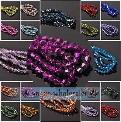 Wholesale 100/500Pcs 3mm/4mm/6mm Bicone Faceted Crystal Glass Loose Spacer Beads