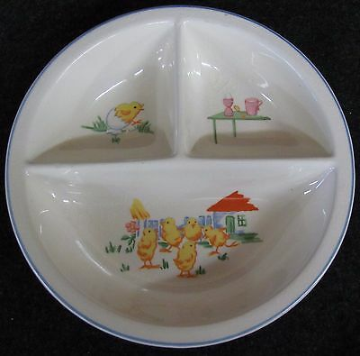 Vtg BABY CHICKS Ceramic Divided 3 Compartment Baby Dish Plate (AB813)