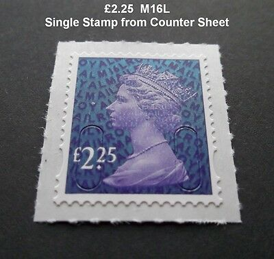 NEW 2016  £2.25 Machin M16L Code SINGLE STAMP from Counter Sheet U2940