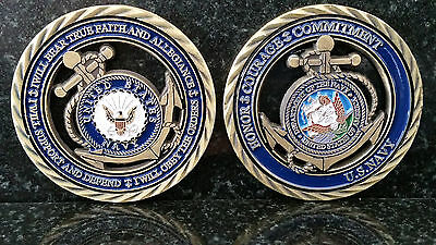 U.s. Navy Honor Courage And Commitment  Challenge Coin Defend Obey Faith True