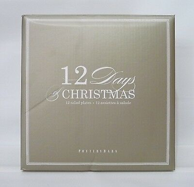 POTTERY BARN 12 Days of Christmas Salad Plates, SET OF 12, NEW IN BOX