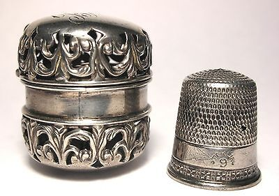 Antique F&B Sterling Pierced Filigree Thimble Holder Engraved 'Babe' c.1880s