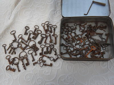 100 + Antique Metal Keys Safe Lock Door Various Small To Medium Some Victorian