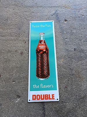 Double Cola Porcelain Minty Sign Door Push Soda Pop Lubester Gas Oil Pump Gulf