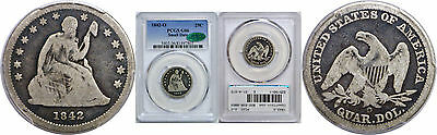 1842-O Seated Liberty Quarter PCGS G-6 CAC Small Date