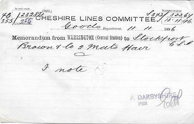 1896 Cheshire Lines Committee Memo - from Warrington to Stockport