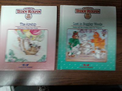 1985 TEDDY RUXPIN Lost in Boggley Woods & The Airship Hardcover Books Only EUC