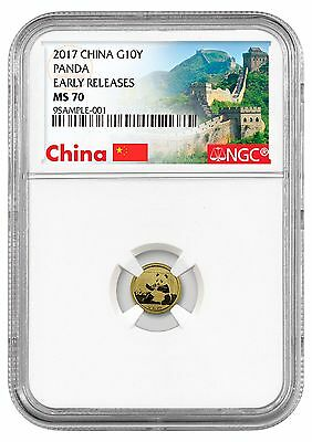 2017 China 10 Yuan 1g Gold Panda NGC MS70 ER (Excl Great Wall Label) SKU44578