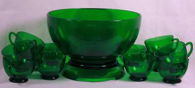 Vintage Anchor Hocking FOREST GREEN Punch Bowl 12 Cups & Stand Complete Set MINT