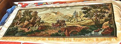 """VINTAGE WOVEN WALL HANGING TAPESTRY 26""""x64"""""""