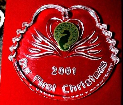 Waterford 107424 Our 1st Christmas 2001 Crystal Swans BOX & BAG