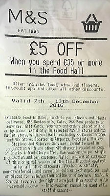 £5 off Marks & Spencer coupon voucher on £35+ spend food wine flowers 7-13.12