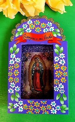 Authentic Mexican Folk Art Hand made &  Painted Sm Nicho w/ Virgin of Guadalupe