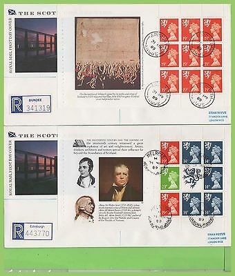 G.B. 1989 Scots booklet pane set on PPS First Day Covers (4) Diff. cds