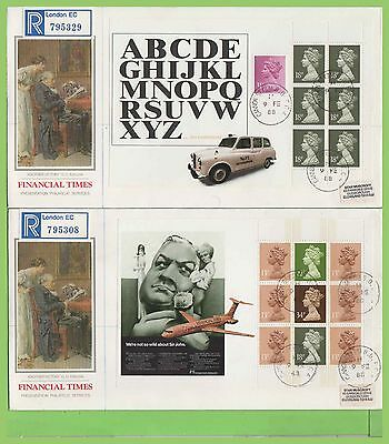 G.B. 1988 F.T. booklet pane set on PPS First Day Covers (4) Cannon St. cds