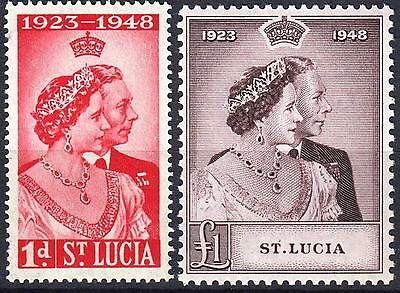 St Lucia, 1948 Royal Silver Wedding, SG 144 & 145, Mint Never Hinged