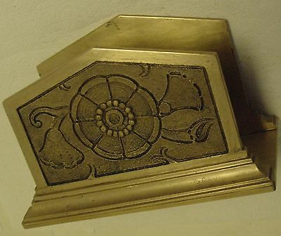 Vintage Cast Brass Desk Top Letter Holder With Flower Design