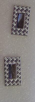 Vintage SWANK Silver Colored  Plaid border Design Cuff Links
