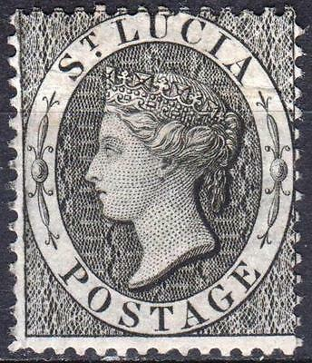 St Lucia, 1864 issue, SG 15, 1d Black, Perf 14, Mint Hinged, Cat £42