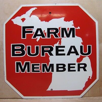 Orig Old Michigan Farm Bureau Member double sided metal Stop Sign farm feed seed