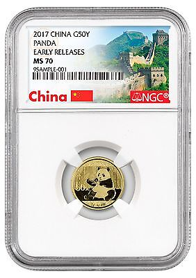 2017 China 50 Yuan 3g Gold Panda NGC MS70 ER (Excl Great Wall Label) SKU44583
