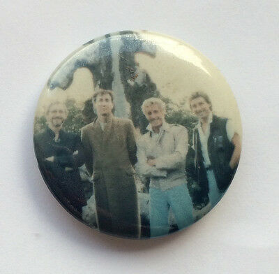 """Vintage 1980s PINK FLOYD pinback button pin 1.25"""" band shot Gilmour Waters"""
